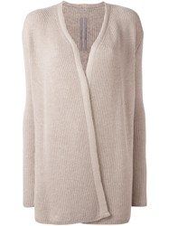 Rick Owens Open Front Knitted Cardigan Nude Neutrals