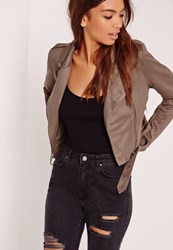 Missguided Faux Suede Biker Jacket Brown Taupe