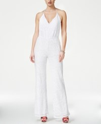 Guess Sara Crocheted Halter Jumpsuit True White