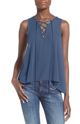 Women's Painted Threads Lace Up Tank Blue