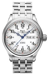 Ball 'Trainmaster 60 Seconds Ii' Bracelet Watch 41Mm Silver White