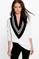Boohoo Sports Rib Jumper White