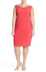 Plus Size Women's Adrianna Papell Mesh Inset V Neck Banded Jersey Sheath Dress