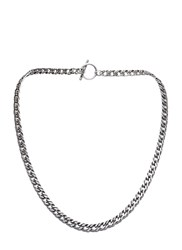 Saint Laurent Short Double Curb Chain Necklace Silver