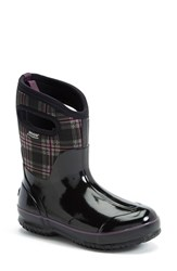Women's Bogs 'Classic Winter Plaid' Mid High Waterproof Snow Boot With Cutout Handles Black Multi