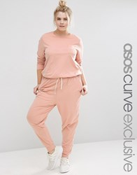 Asos Curve Washed Casual Jumpsuit With Drawstring Mink Pink