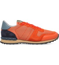 Valentino Mesh Combo Suede Low Top Trainers Orange