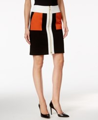 Inc International Concepts Colorblocked Zip Front Pencil Skirt Only At Macy's Black White Navajo
