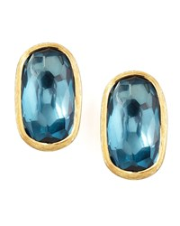 Murano 18K London Blue Topaz Stud Earrings 15Mm Marco Bicego