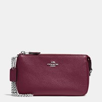 Coach Nolita Wristlet 19 In Pebble Leather Silver Burgundy