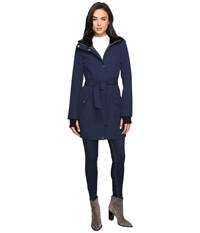Jessica Simpson Long Softshell W Faux Fur Collar And Hood Navy Women's Coat