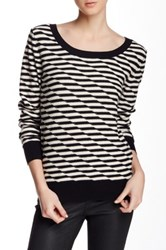 14Th And Union Disrupted Stripe Crew Neck Sweater Black