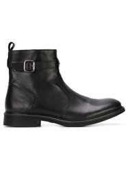 Armani Jeans Buckled Ankle Boots Black