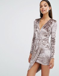 Club L Crushed Velvet Wrap Over Long Sleeve Dress Crushed Mink Brown