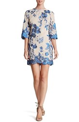 Dress The Population Women's 'Paige' Metallic Embroidered Chiffon Shift Cobalt Sand