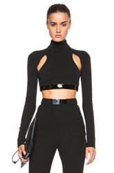David Koma Long Sleeve Cut Out Leather Band Top In Black