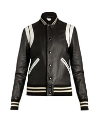 Saint Laurent Bi Colour Leather Bomber Jacket Black White