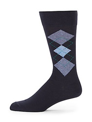 Saks Fifth Avenue Cotton Blend Argyle Socks Navy