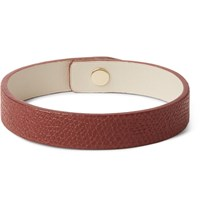 Valextra Pebble Grain Leather Bracelet Red