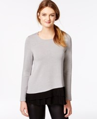Kensie Pleated Contrast Fleece Sweatshirt