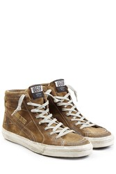 Golden Goose Slide Suede High Top Sneakers Brown