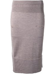 Nehera Knitted Fitted Skirt Brown