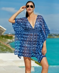 Jessica Simpson Batwing Sleeve Ikat Print Cover Up Women's Swimsuit Navy Multi