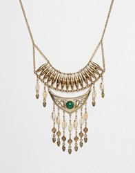 New Look Cowry Shell Statement Necklace Green