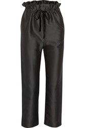 Isa Arfen Cropped Cotton And Silk Blend Straight Leg Pants Black