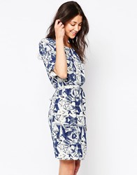 Ichi Abstract Print Skater Dress Blue