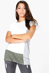 Boohoo Colour Block T Shirt Cream