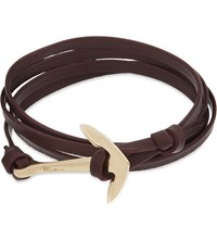 Miansai Anchor Gold Plated Leather Wrap Bracelet Burgundy
