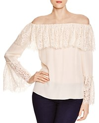 Rachel Zoe Krystal Lace Overlay Off The Shoulder Top Open White