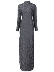 Christian Siriano Textured Evening Dress Grey