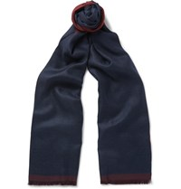 Ermenegildo Zegna Double Sided Cashmere And Silk Blend Scarf Navy