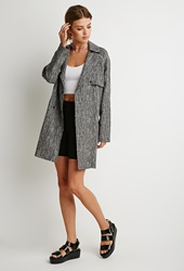 Forever 21 Abstract Print Trench Coat Beige Black