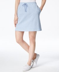 Karen Scott Drawstring Skort Only At Macy's Light Blue Heather