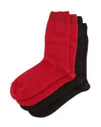 Neiman Marcus Cashmere Blend Two Pack Socks Red Black