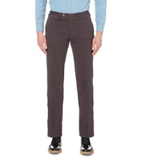 Canali Regular Fit Straight Cotton Chinos Brown