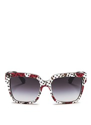 Dolce And Gabbana Polka Dot Carnation Print Acetate Square Sunglasses Multi Colour