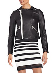 Rebecca Minkoff Wolf Colorblock Leather Moto Jacket Black White