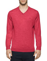 Calvin Klein Solid Merino Wool V Neck Sweater Foiano
