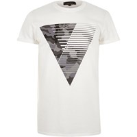 River Island Mens White Camouflage Triangle Print T Shirt