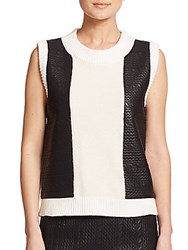 Raoul Knit Cable Panel Tank Ivory Black