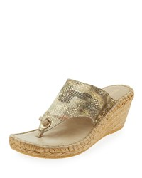 Andre Assous Annette 2 Camouflage Print Wedge Sandal Beige Camo