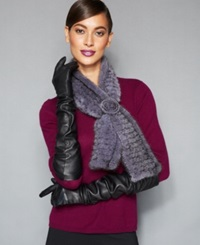 The Fur Vault Knitted Mink Fur Scarf Grey