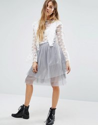Navy London Tulle Skirt With Sparkle Grey