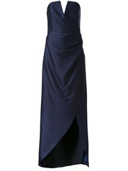 Bianca Spender Bustier Fitted Evening Gown Blue