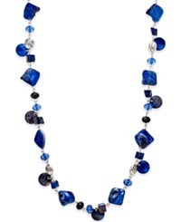 Style And Co. Silver Tone Blue Jet Shell Long Necklace