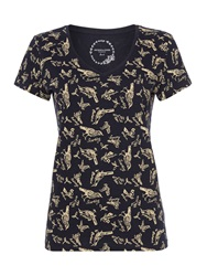 Dickins And Jones All Over Bird Print Top Navy